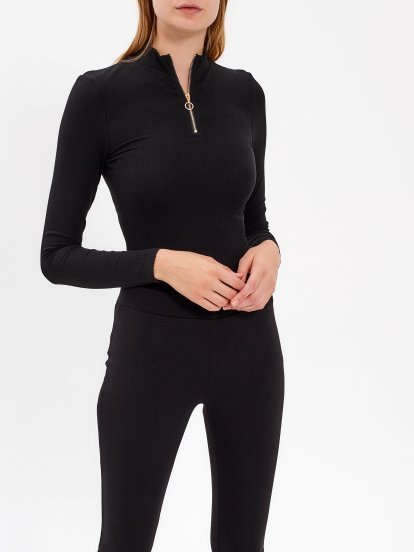 BODYSUIT WITH FRONT ZIPPER