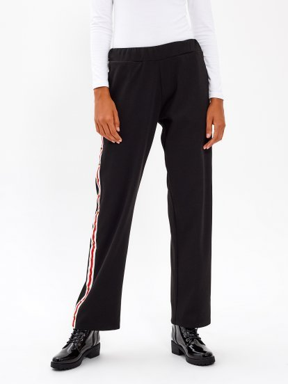 WIDE LEG TROUSERS WITH STRIPED SIDE TAPE & STUDS