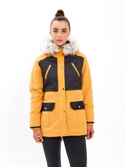COMBINED PARKA WITH FAUX FUR