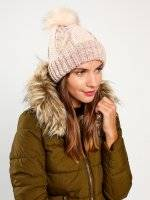 CABLE-KNIT BEANIE WITH FAUX FUR POM