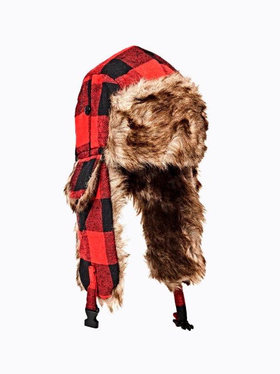 Plaid faux fur lined cap
