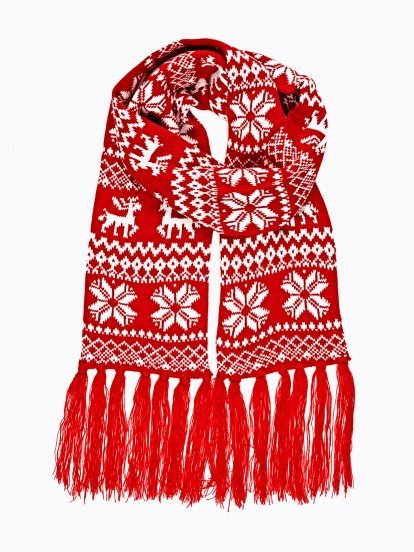 PATTERNED SCARF WITH TASSELS
