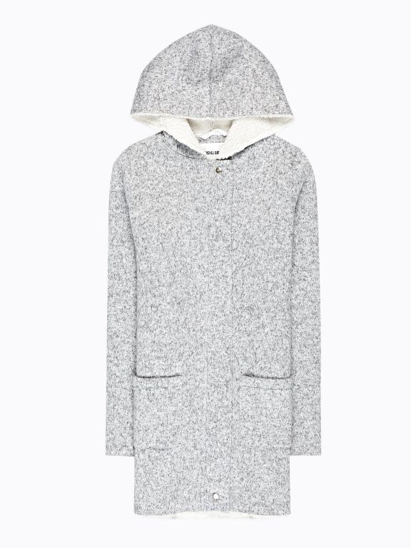 Pile lined plain coat with hood