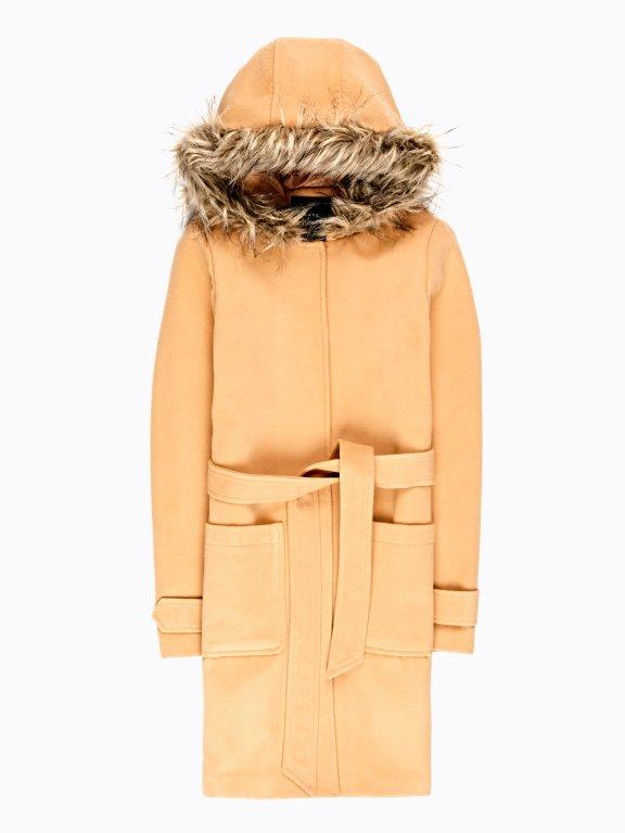 Kabát s kapucňou a s opaskom