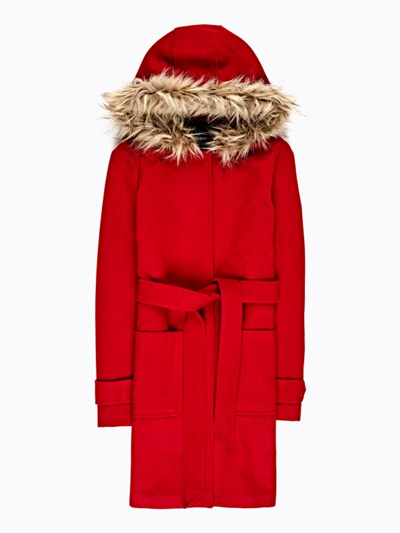 BELTED COAT WITH HOOD