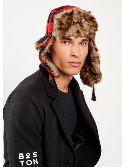 Plaid faux fur lined cap
