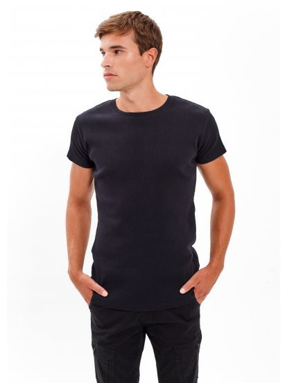 BASIC RIB-KNIT T-SHIRT WITH SHORT SLEEVE