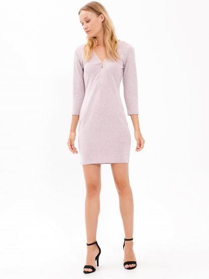 Bodycon dress with front zipper