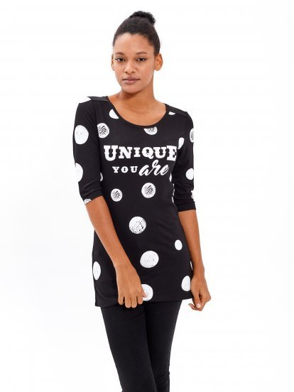 POLKA DOT T-SHIRT WITH MESSAGE PRINT
