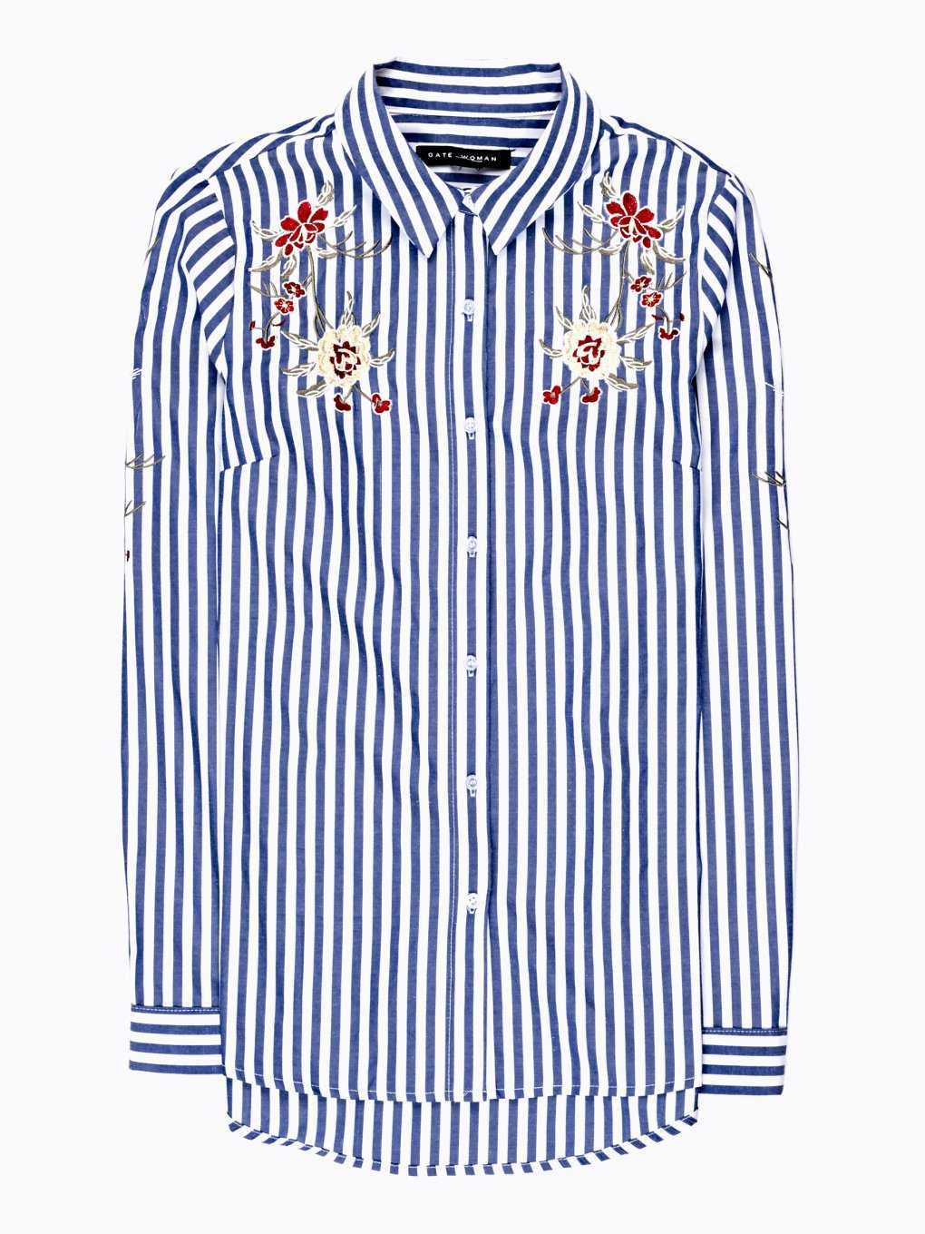 STRIPED SHIRT WITH FLORAL EMROIDERY