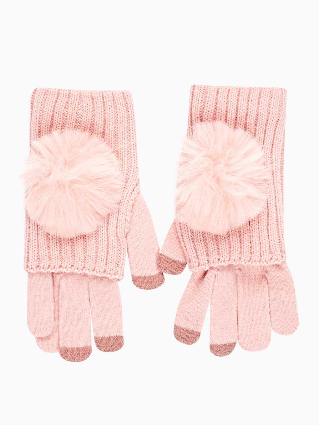 2-PACK KNITTED GLOVES WITH FAUX FUR POM SET