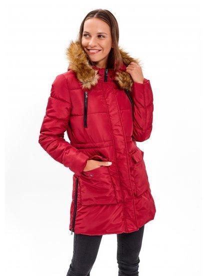 Dlouhá vatovaná bunda se zipy