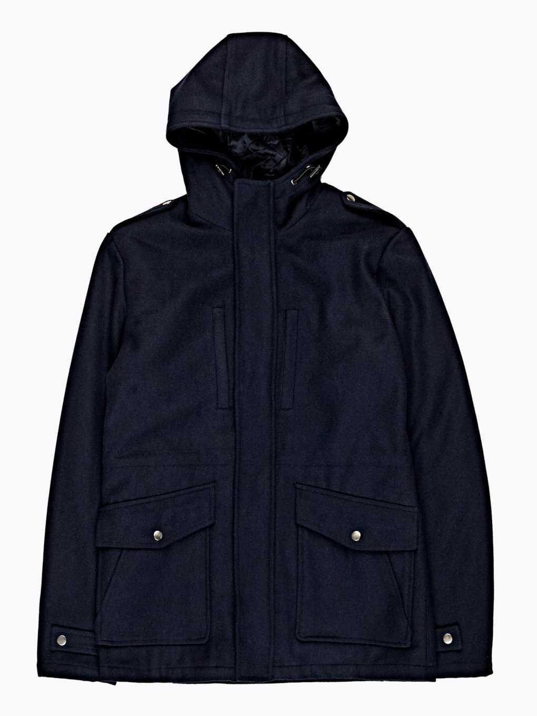 Płaszcz z mieszanki wełny z kapturem