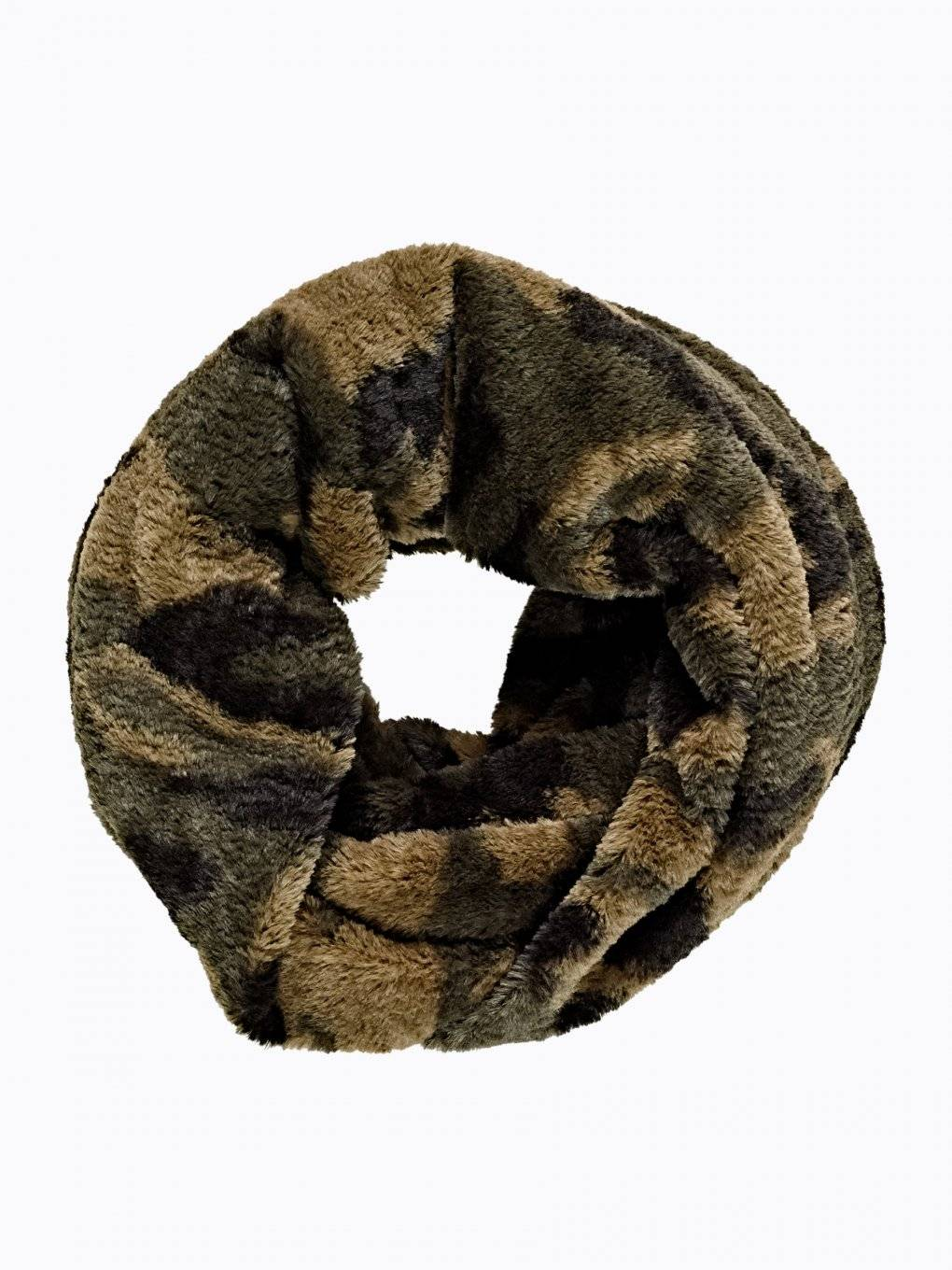 CAMO PRINT FAUX FUR SNOOD