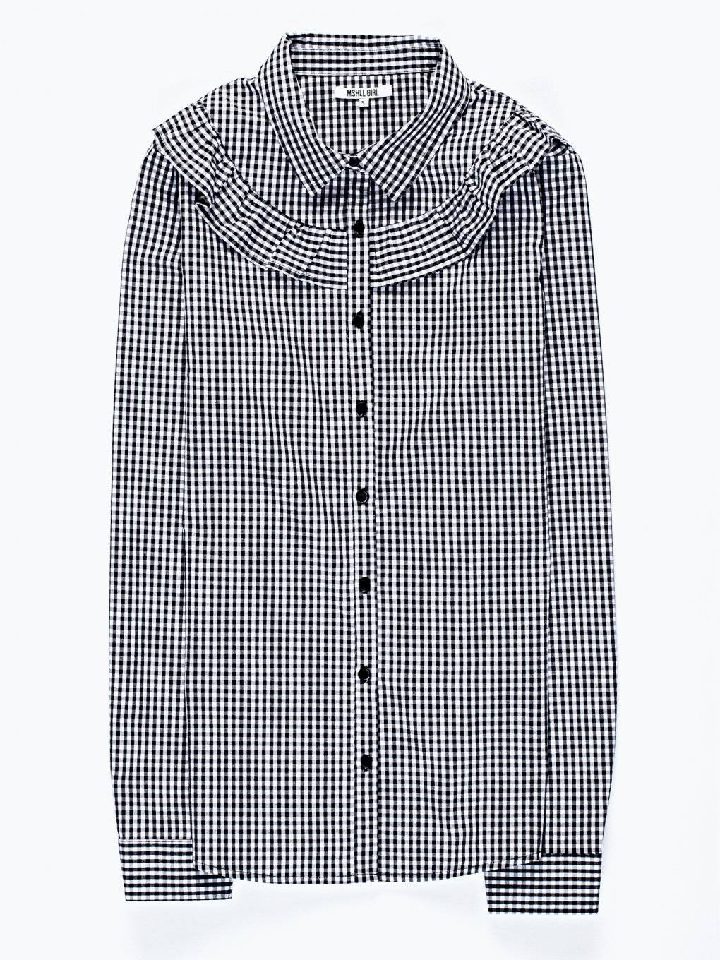 Gingham pattern shirt with ruffle detail