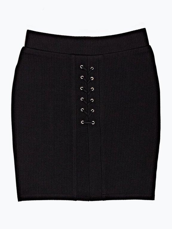 Rebrovaná sukňa so šnurovaním