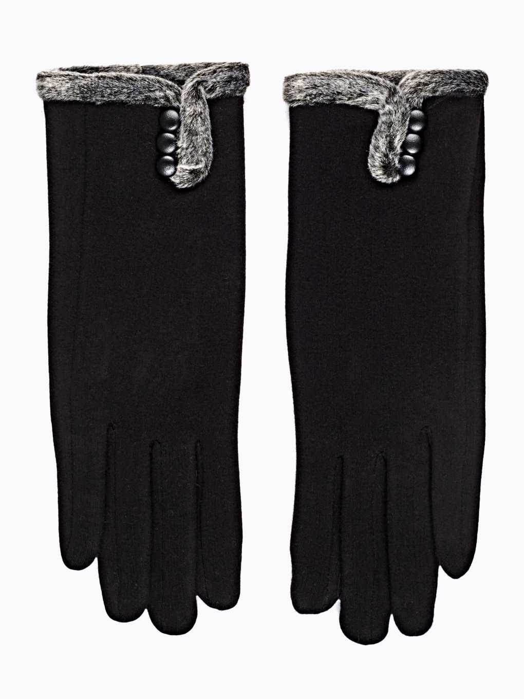 Gloves with faux fur trim