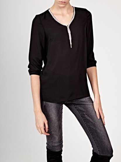 V-neck blouse with chain detail