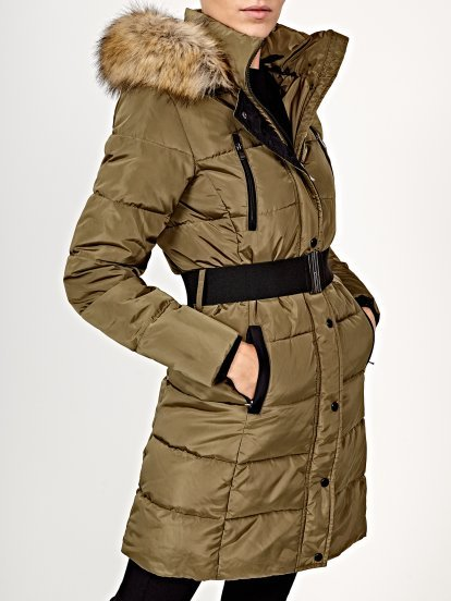 Belted padded jacket with removable hood