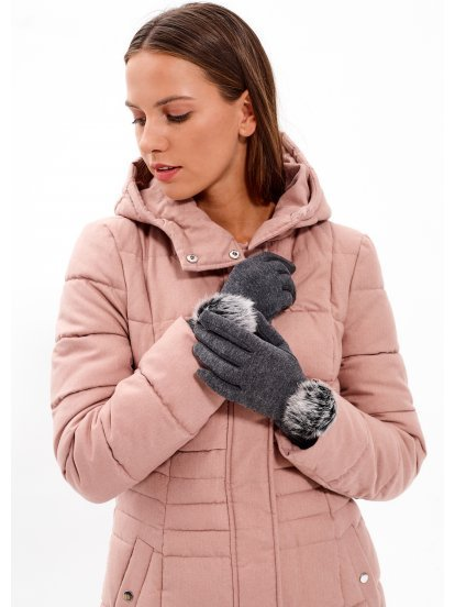 Gloves with faux fur pompom