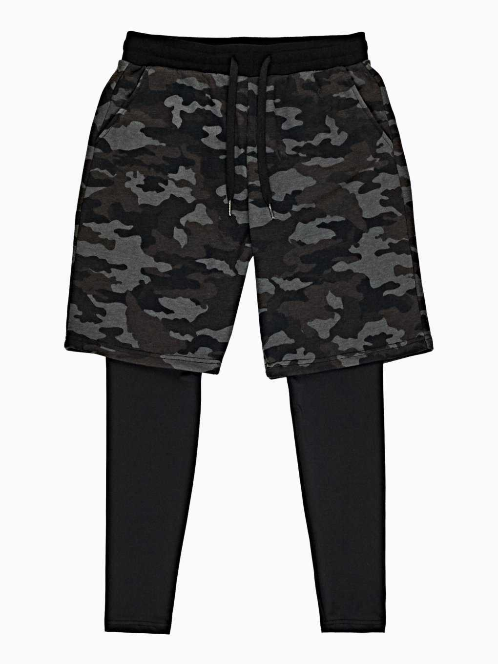 CAMO PRINT LAYERED SWEATPANTS