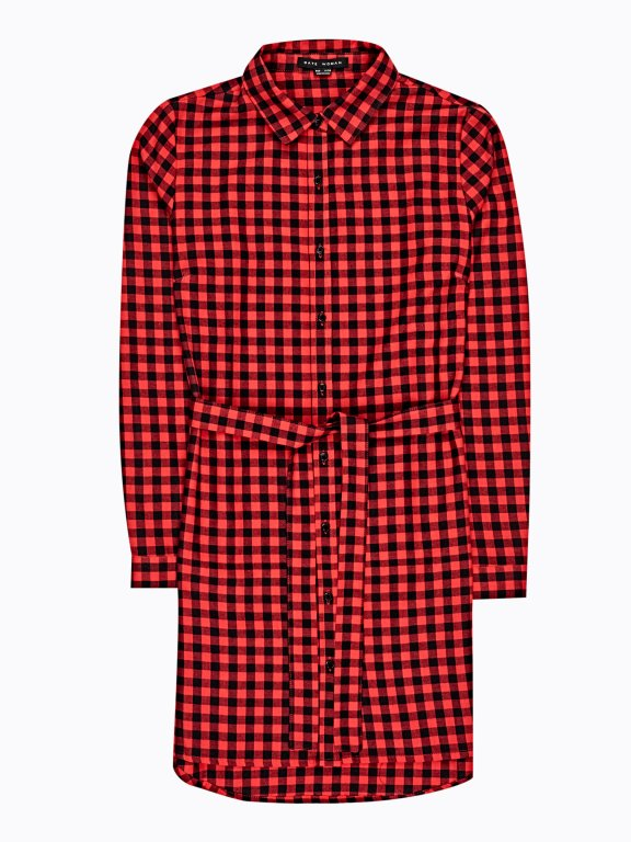 Longline gingham shirt with belt
