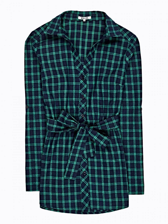 Longline plaid shirt with belt