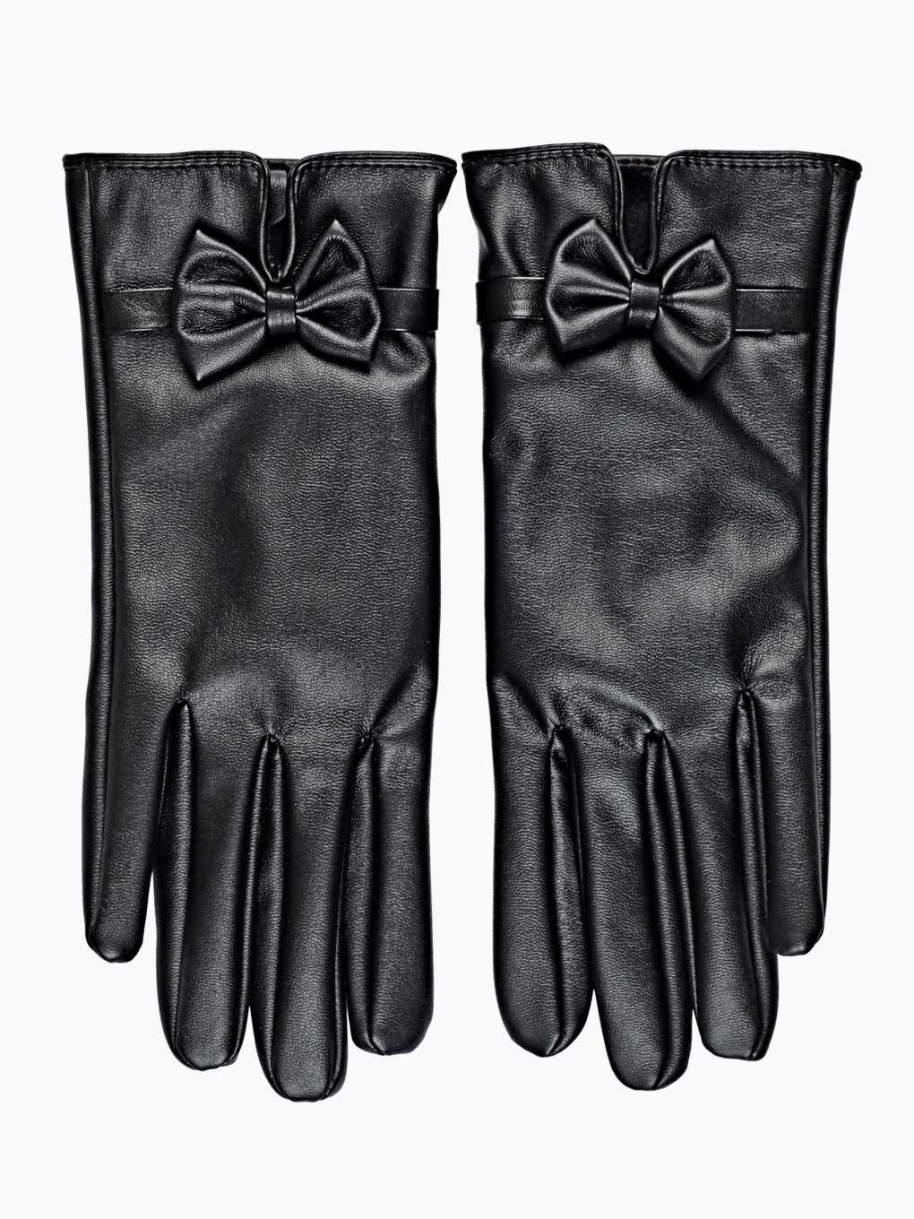 FAUX LEATHER GLOVES WITH BOW
