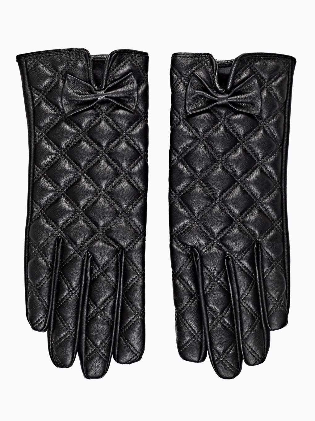 FAUX LEATHER QUILTED GLOVES WITH BOW