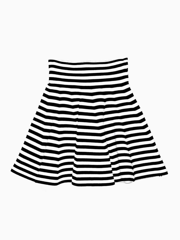 Spódnica w kształcie litery A w prążki