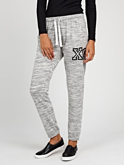 Marled sweatpants with print