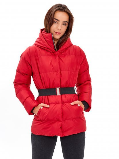 QUILTED HOODED JACKET WITH STRETCH BELT