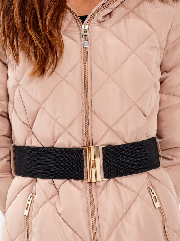 Dlhá prešívaná vatovaná bunda s opaskom