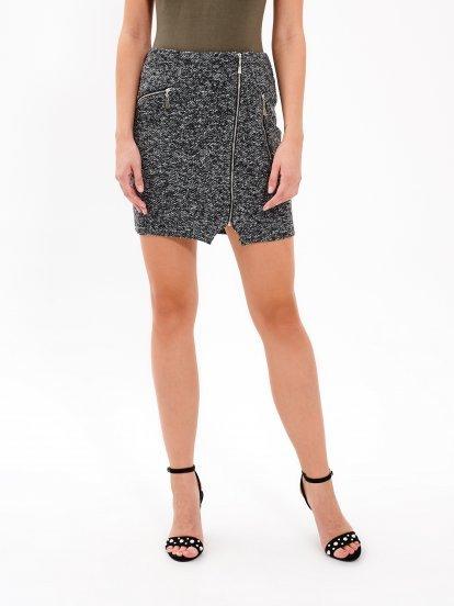 Melírovaná pouzdrová sukně se zipem