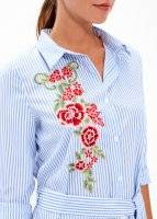 LONGLINE STRIPED SHIRT WITH FLORAL EMBROIDERY