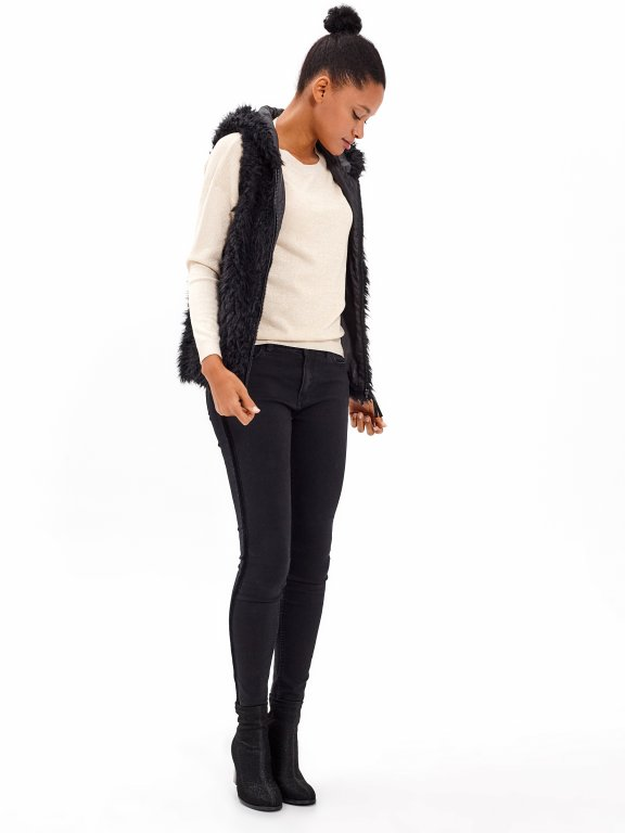 FLUFFY ZIP-UP VEST WITH HOOD