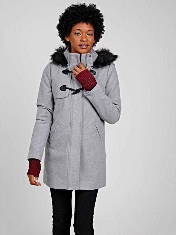 Zip-up coat with hood