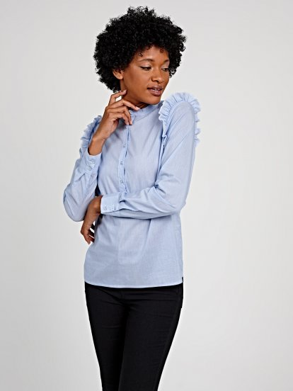 Striped shirt with ruffle detail