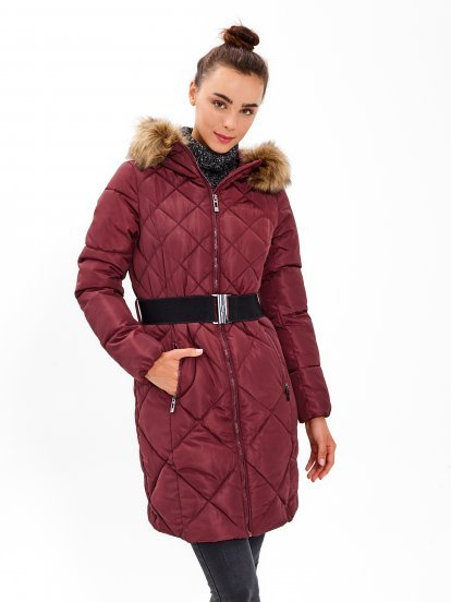 Longline quilted padded jacket with belt and faux fur