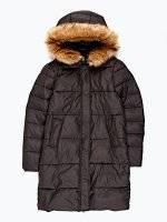 Prodloužená vatová bunda s kapucí