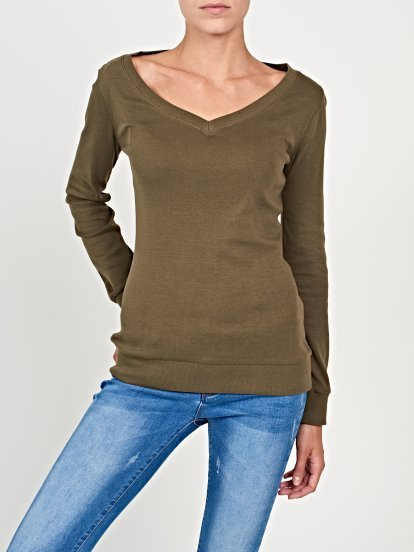 Basic rib-knit v-neck t-shirt