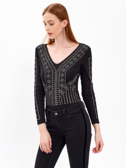 BODYSUIT WITH SILVER STUDS