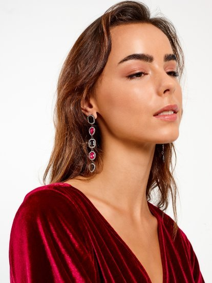 Faux stones drop earrings
