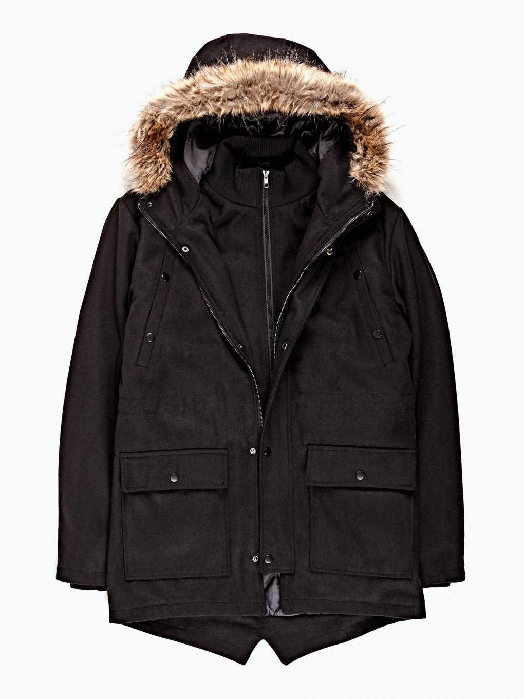 Parka coat with hood