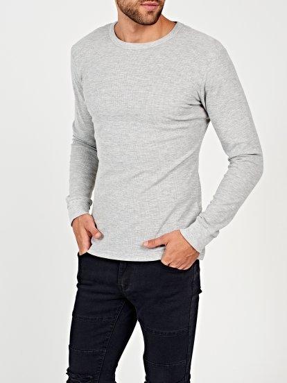 Waffle-knit basic t-shirt