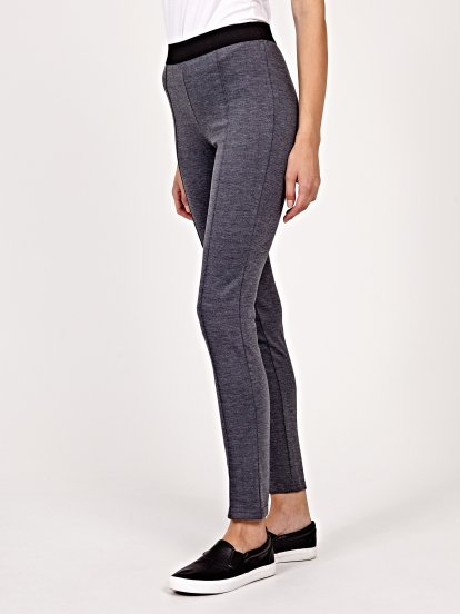 Marled leggings with contrast waist