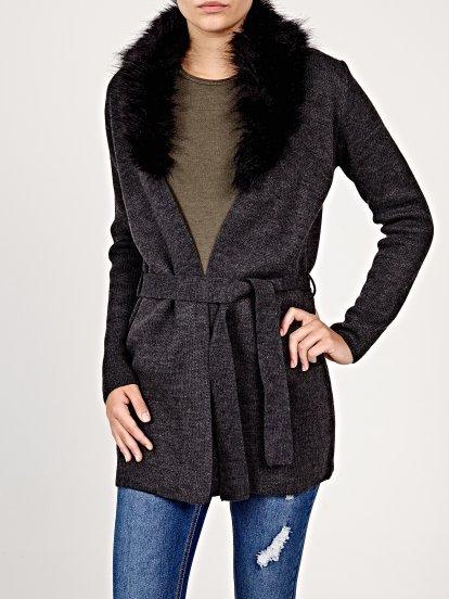 Marled cardigan with faux fur collar