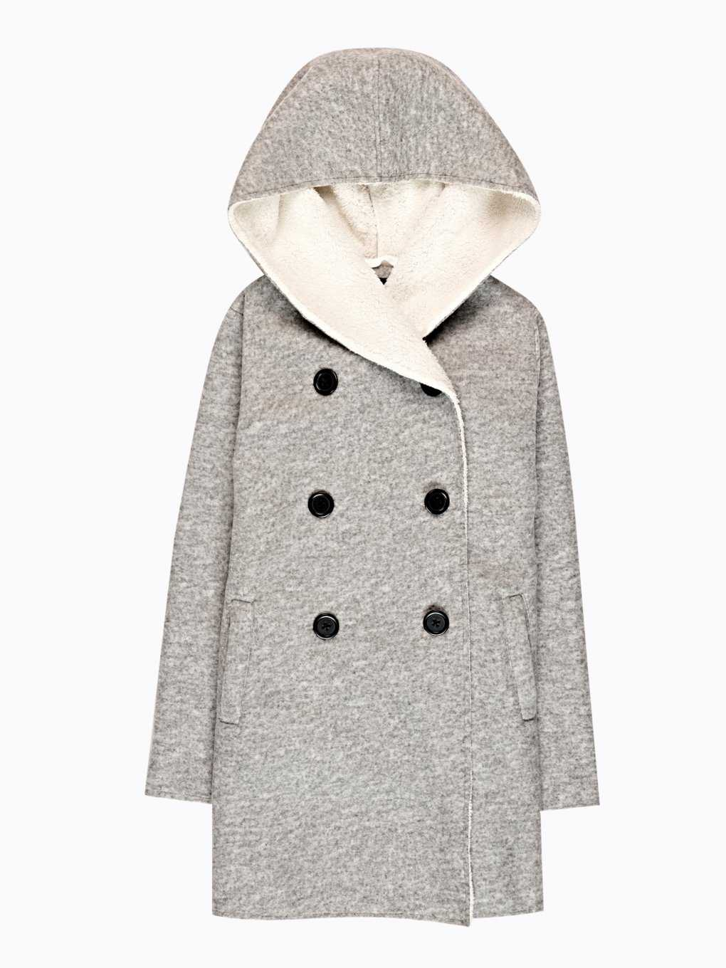 Pile lined double breasted coat with hood