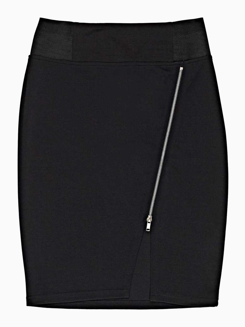 Bodyon skirt with asymmetrical zipper