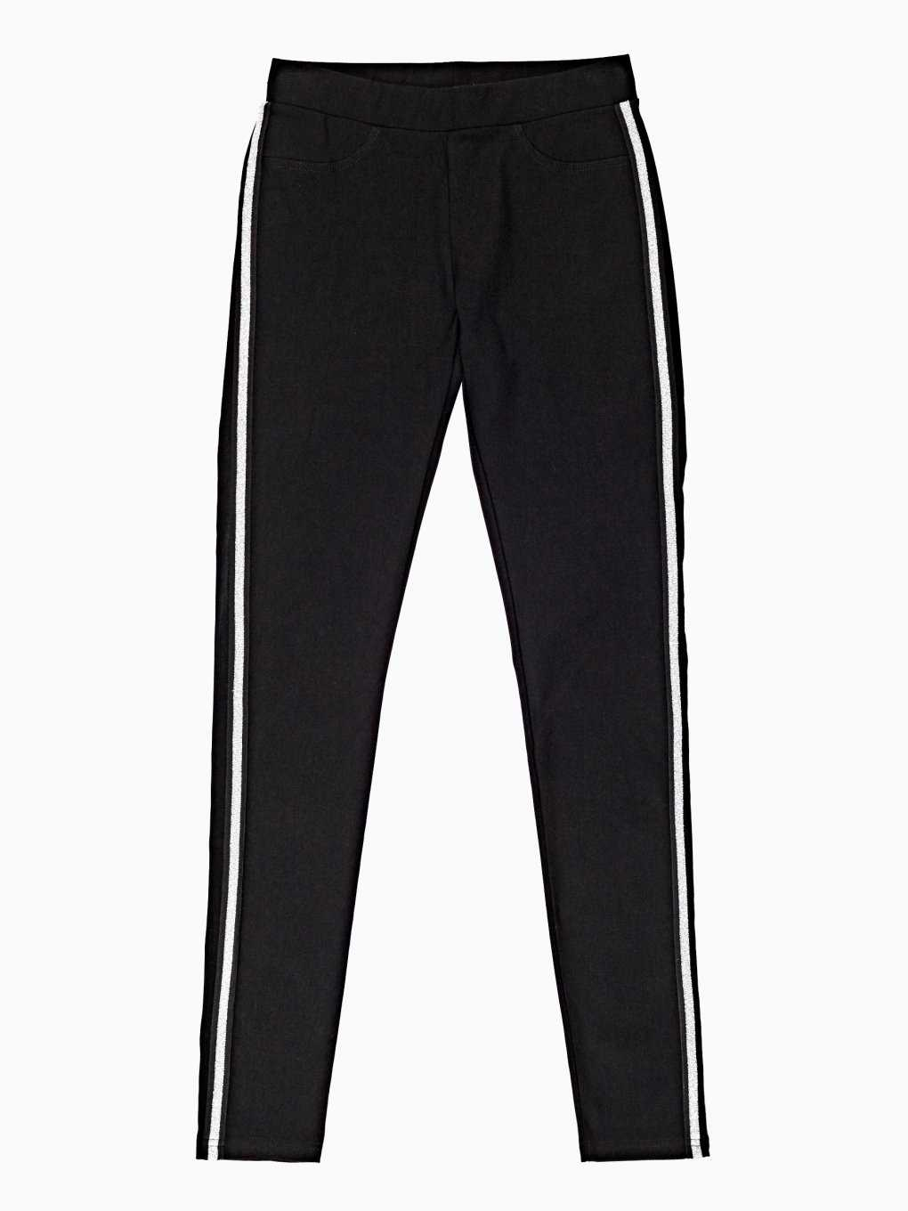 SLIM KNITTED TROUSERS WITH METALLIC SIDE TAPE